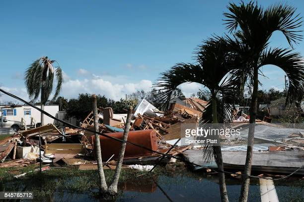 Fooded homes stand in a rural part of Naples the day after Hurricane Irma swept through the area on September 11 2017 in Naples Florida Hurricane...
