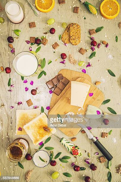 Foodie picture taken from above of a healthy breakfast with flat lay and different foods.