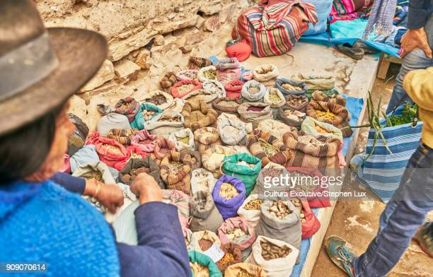 Foods for sale on market stall, Tarabuco, Chuquisaca, Bolivia, South America