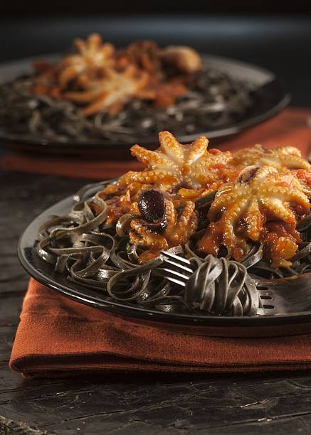 foods with deep black hues set the stage for halloween dinners black rice squid