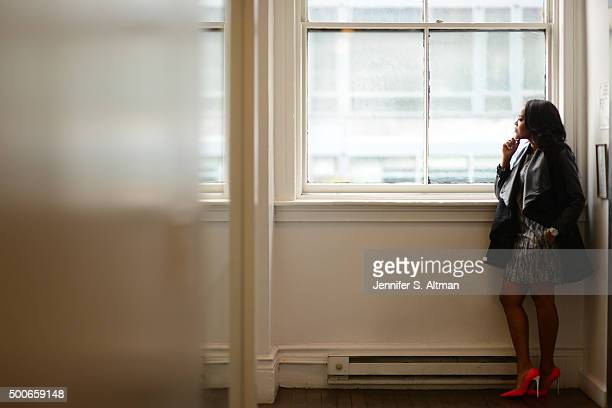 Foofi designer Angela Simmons is photographed for New York Times on March 31 2015 in New York City