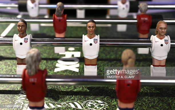 Foosball figurine of 2019 US Soccer Womens National Team player Carli Lloyd is seen on a foosball table presented by FOX Sports as US Soccer holds...