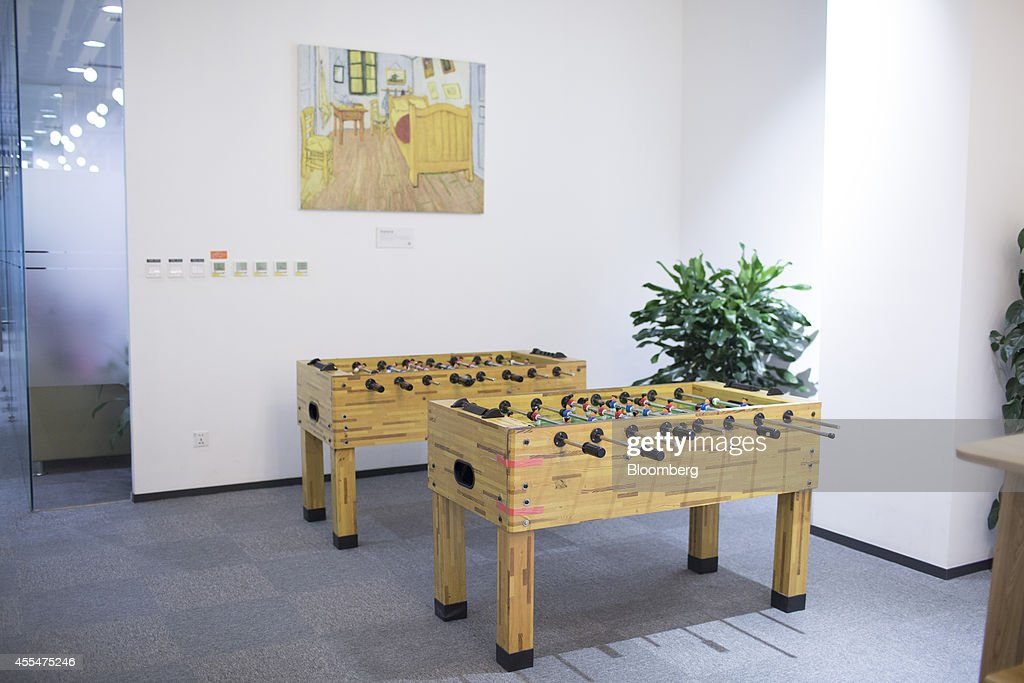 Foosball tables stand inside a Xiaomi Corp. office in Beijing, China, on Friday, Sept. 12, 2014. Xiaomi Chief Executive Officer Lei Jun plans to boost global smartphone sales fivefold to 100 million units next year. Photographer: Brent Lewin/Bloomberg via Getty Images