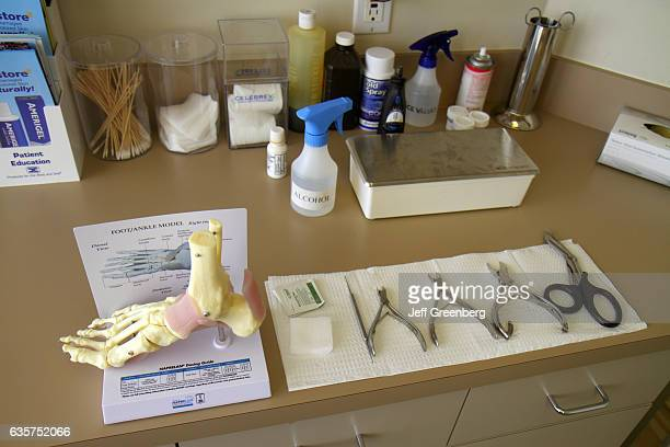 A foot ankle model and tools in the examination room at Mount Sinai Medical Center