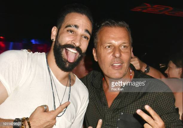 Foot Ball player Adil Rami and Jean Roch Pedri attend the Fight Night Party at the VIP ROOM as Part of SaintTropez Party On French Riviera on August...