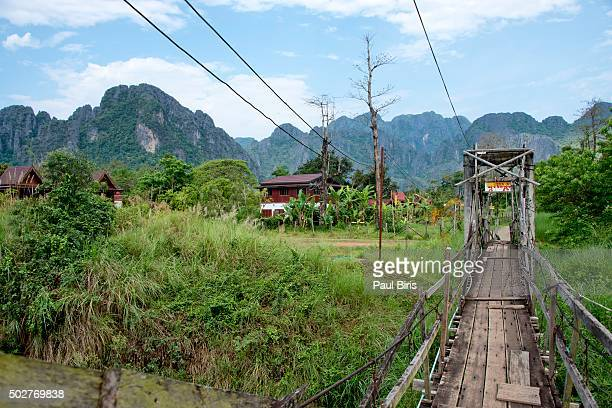 Foot bridge over the Nam Song River in Vang Vieng