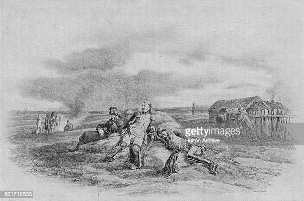 Foot Grenadiers and Empress Dragoons from the French Imperial Guard of the Grande Armee in bivouac in Vilna en route to the invasion of Russia during...