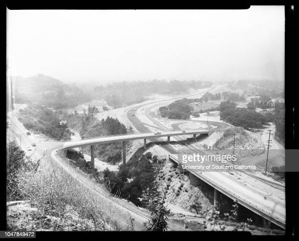 Foot Hill Freeway, 16 July 1955. Foothill freeway under construction at Devil's Gate dam;Freeway and new bridge over devil's gate dam;Freeway...