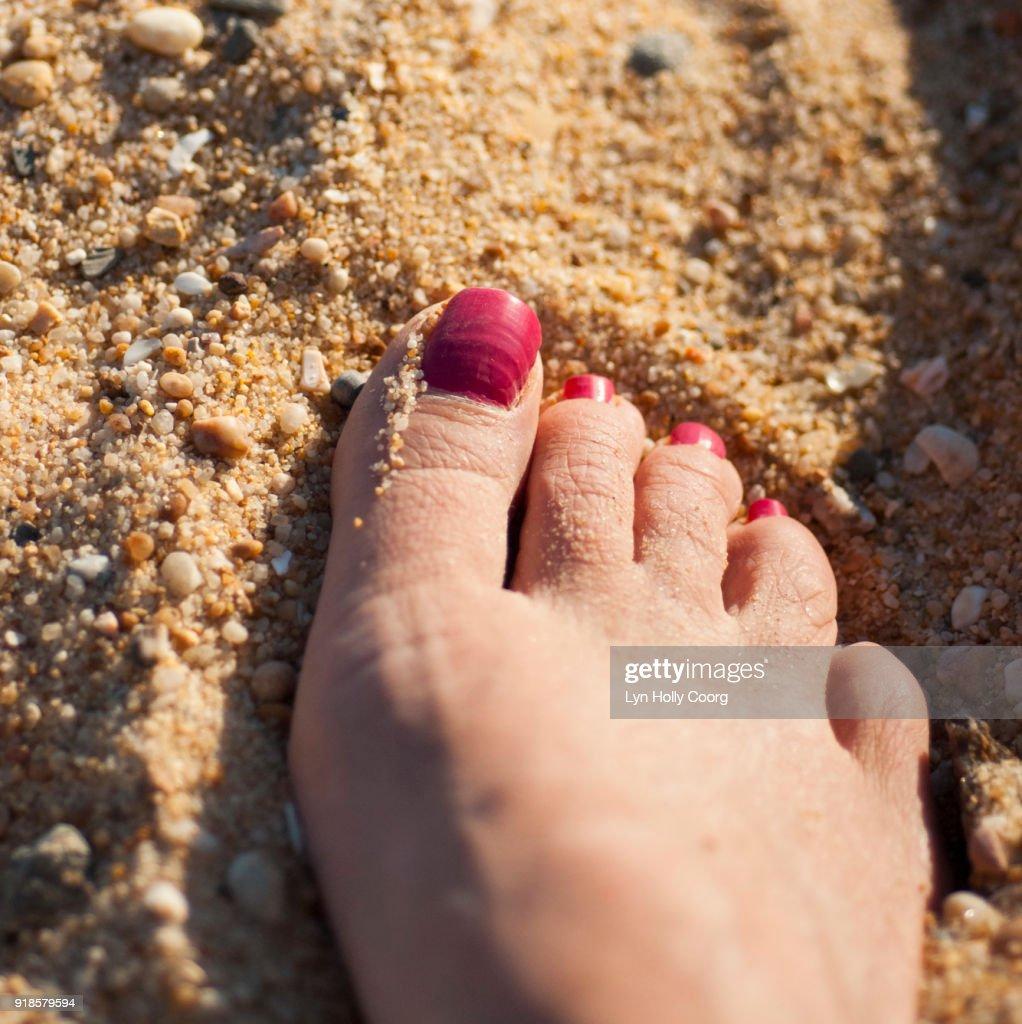 Foot in sand : Stock Photo