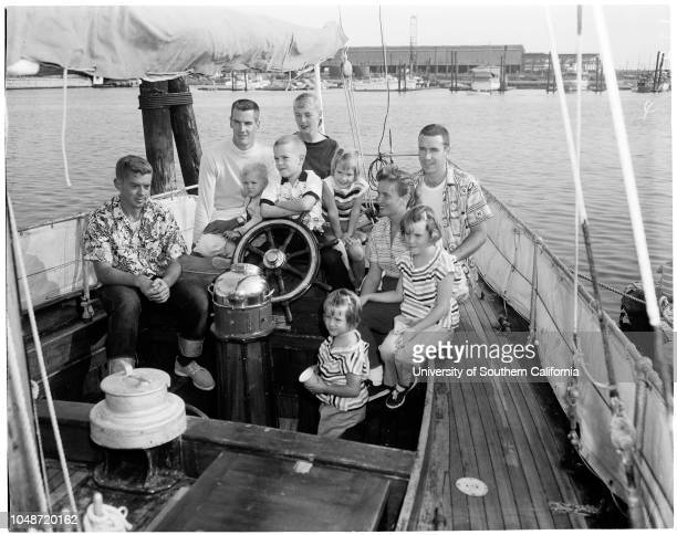 60 foot ketch arrives at Los Angeles Harbor 12 October 1957 John Blanchard 25 yearsThomas Hathaway 2 yearsSteven Hathaway 6 yearsBill Hancock 31...