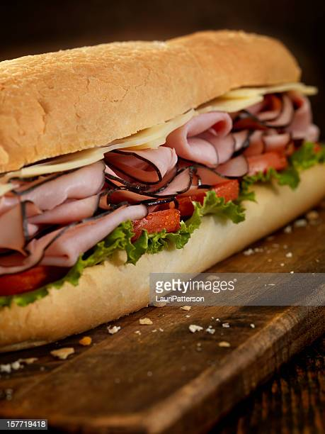 foot long ham and swiss cheese sub - submarine sandwich stock pictures, royalty-free photos & images