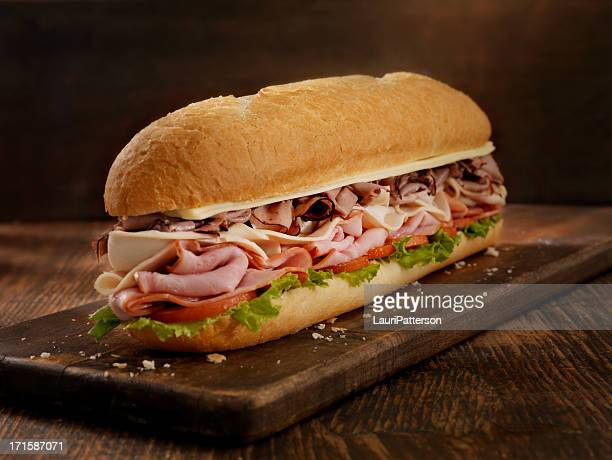 foot long roast beef and cheese sub - submarine sandwich stock pictures, royalty-free photos & images