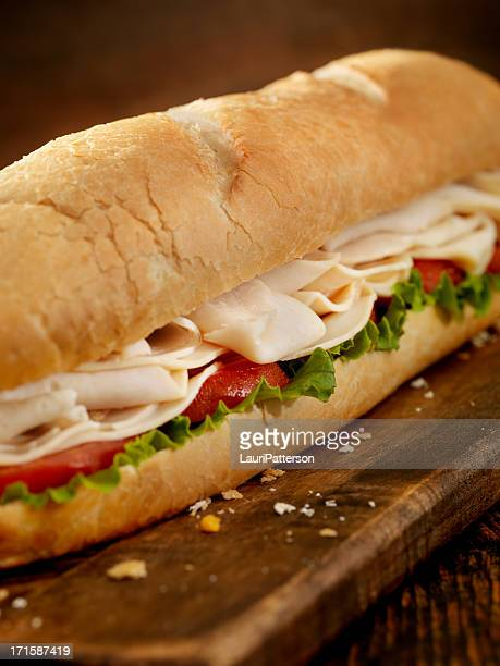 foot long turkey sub - submarine sandwich stock pictures, royalty-free photos & images