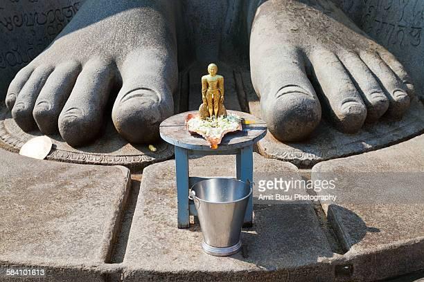 foot of bahubali statue, sravanabelagola, india - sravanabelagola stock photos and pictures