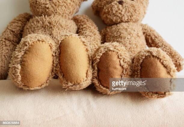 foot of teddy bear,close up - ぬいぐるみ ストックフォトと画像