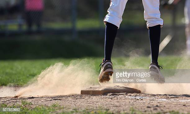 Foot on first base during the High School Baseball ball game between Trumbull Golden Eagles and McMahon Senators at Brien McMahon High School....