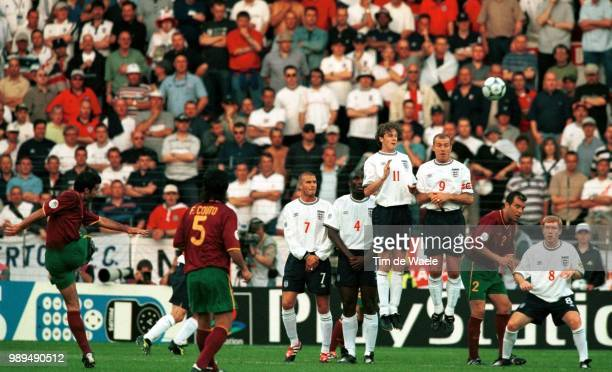 Foot Portugal England Figo Luis Beckham David Campbell Steve Macmanaman Steve Shearer Alan Scholes Paul Football Voetbal Portugal England Angleterre...
