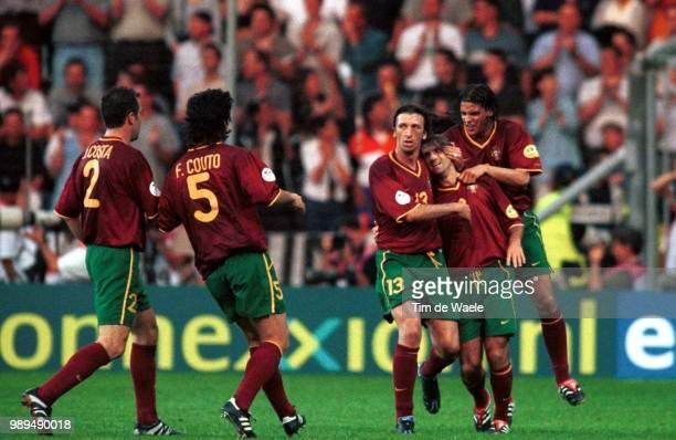 Foot Portugal, Englandjoie Vreugde Joao Pinto Dimas Footballvoetbal Portugal England Angleterreengeland Euro 2000 Iso Sport !Im335594 Football...