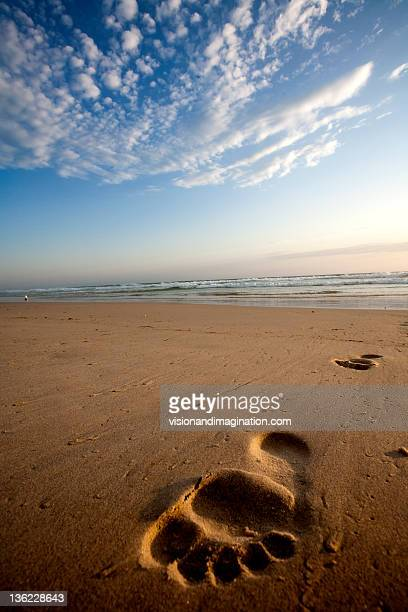 Foot print in sandy beach cloudy sky