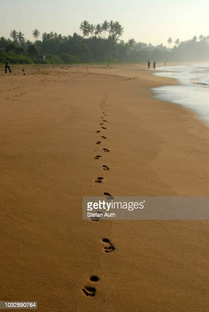 foot prints in the sand, barefoot, straight line, trail in the sand, talalla beach, indian ocean, ceylon, sri lanka, south asia - lanka stock pictures, royalty-free photos & images