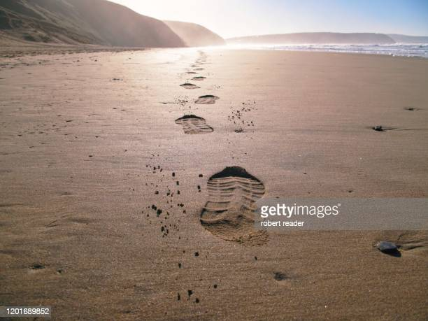foot prints on beach - イングランド南西部 ストックフォトと画像