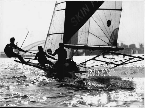 18 Foot Sailing Ella Bache crew Craig Nutter Craig Ramsden and Adrian Cahalan October 14 1990