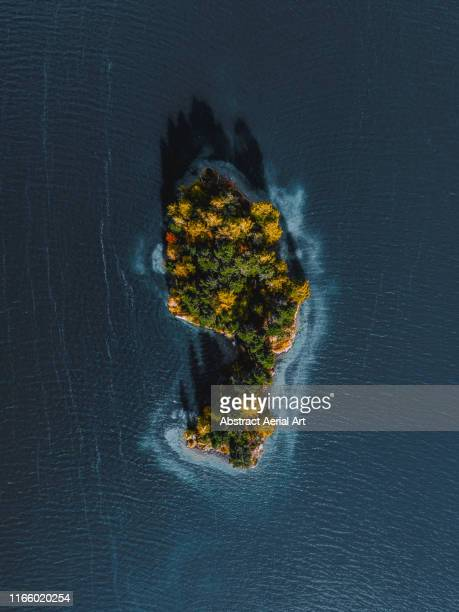 foot shaped island on lake sils, switzerland - kanton graubünden stock-fotos und bilder