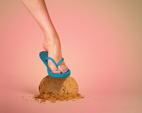 Foot Smashing a Cookie - gettyimageskorea