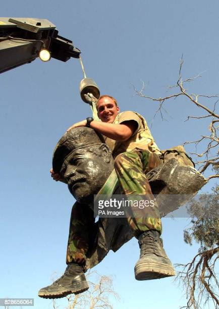 A 17 foot tall statue of Saddam Hussien was toppeled and beheaded by Royal Electrical Mechanical Engineers 25 Armourded Engineer squadron 2 RTR...