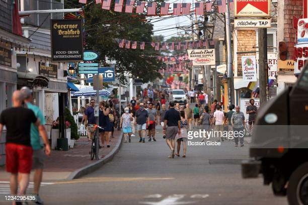 Foot traffic along Commercial street in Provincetown, MA on July 20, 2021. Provincetown officials have issued a new mask-wearing advisory for indoors...