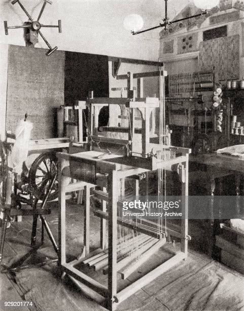 A foot treadle floor loom From the magazine The World and His Wife published 1907