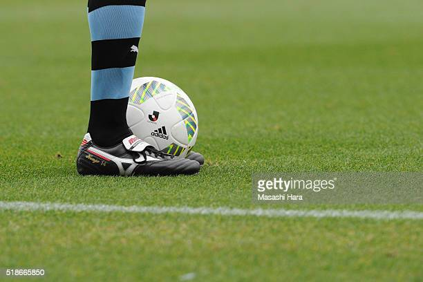 Foot with Spike of Kengo Nakamura of Kawasaki Frontale and Logo of Jleague on official ball of JLeague 2016 during the JLeague match between Kawasaki...