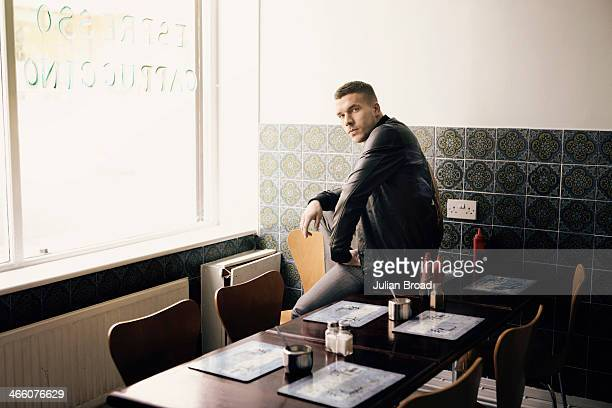Footabller Lukas Podolski is photographed for GQ on March 28 2013 in London England