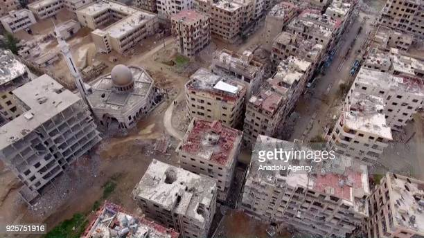 A footage captured by an unmanned aerial vehicle shows wreckages of structures of Douma town which has been under siege of Assad Regime in Eastern...