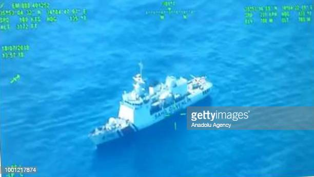 A footage captured shows that coast guard cutter carries out search and rescue work after a boat carrying undocumented migrants sank off in the...