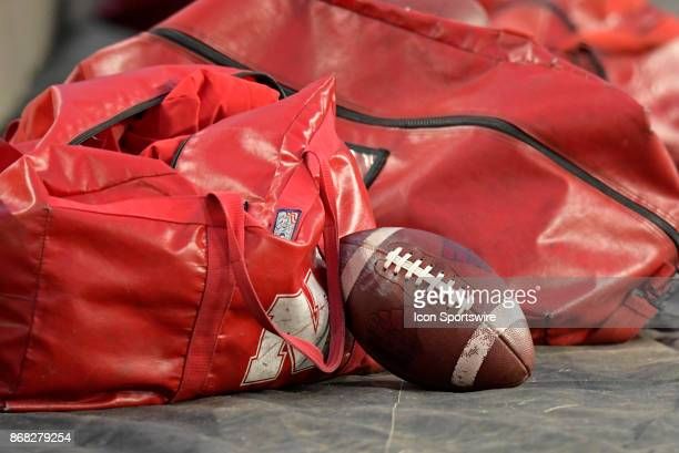 A footbal and equipment bags sit on the sidelines before the start of the Big Ten conference game between the Purdue Boilermakers and the Nebraska...
