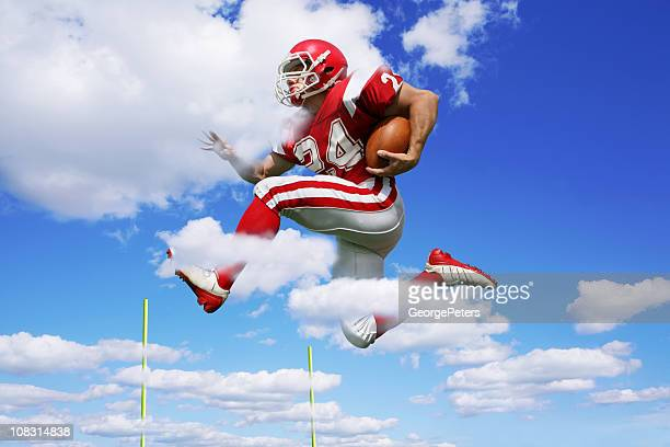 footbal player making fantastic run - rush american football stock pictures, royalty-free photos & images