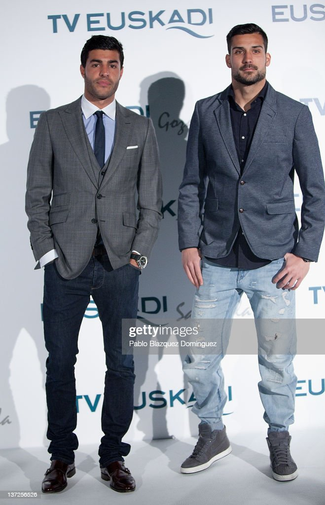 Footbal Players Miguel Torres and Miguel Angel Moya attend Basque Country Tourism Campaign Presentation at Cibeles Palace on January 17, 2012 in Madrid, Spain.