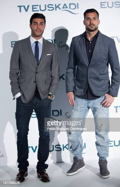 Footbal Players Miguel Torres and Miguel Angel Moya attend Basque Country Tourism Campaign Presentation at Cibeles Palace on January 17 2012 in...