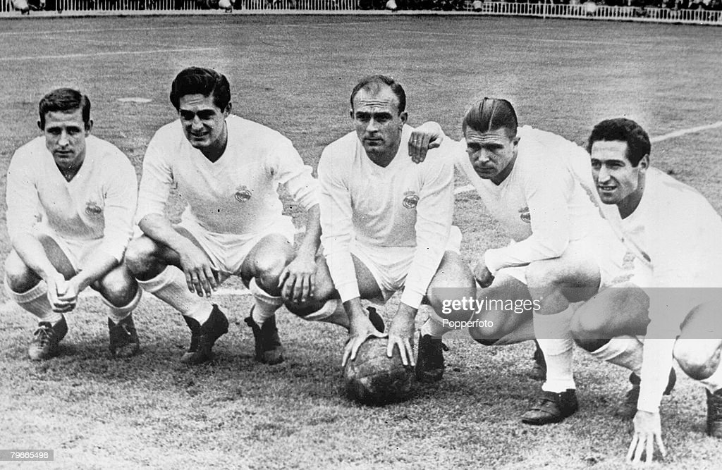 Football, 11th July 1958, Real Madrid forward line of legends, (Left to right) Raymond Kopa (France), Hector Rial (Argentina), Alfredo di Stefano (Argentina), Ferenc Puskas (Hungary), Francisco Gento (Spain) : News Photo