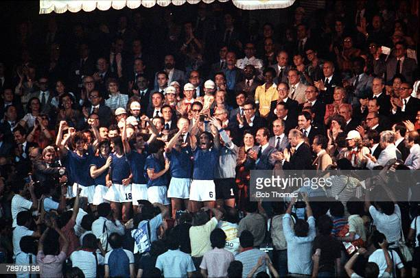 Football 11th July 1982 Bernabeu Stadium Madrid Spain 1982 World Cup Final Italy 3 v West Germany 1 Italy's Claudio Gentile lifts the World Cup as...