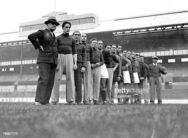 Football 12th November 1934 The Italian Football team to meet England at Highbury pictured at Tottenham Hotspurs ground Manager Pozzo Bertorellisi...