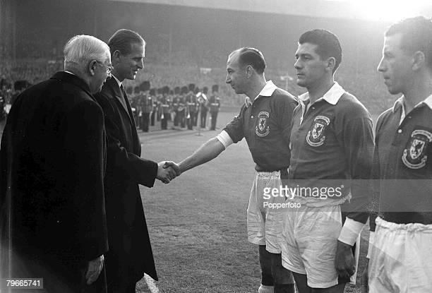 Football 12th November 1952 Wembley Stadium London Home Championships England 5 v Wales 2 HRH Duke of Edinburgh with Welsh team captain Ronnie...