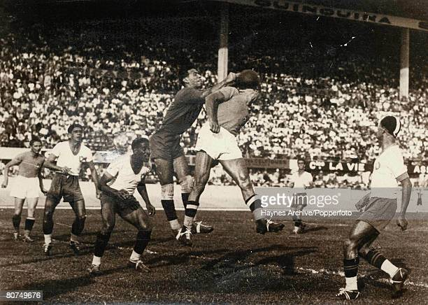 Football 16th June 1938 World Cup Finals Marseille France SemiFinal Italy 2 v Brazil 1 Brazil's goalie Valter punches clear from an Italian forward...