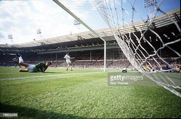 Football, 16th May 1987, FA Cup Final, Wembley, Coventry City 3 v Tottenham Hotspur 2 aet, Tottenham Hotspur goalkeeper Ray Clemence is left stranded...