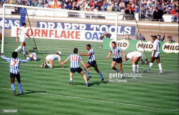 Football 16th May 1987 FA Cup Final Wembley Coventry City 3 v Tottenham Hotspur 2 aet Coventry City celebrate the winning goal which was an own goal...