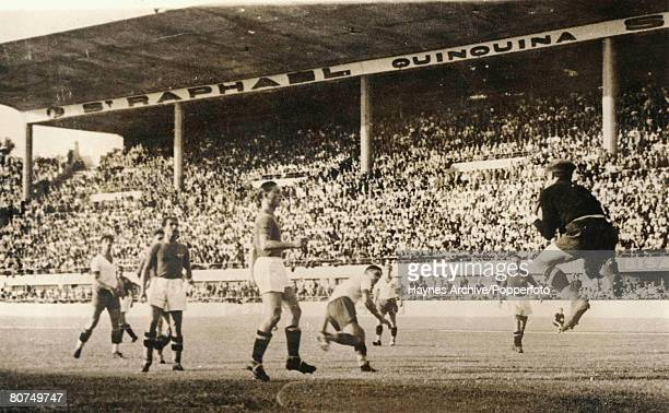 Football 18th June 1938 World Cup Finals Marseilles France SemiFinal Italy 2 v Brazil 1 Italian goalkeeper Olivieri leaps to save during the match