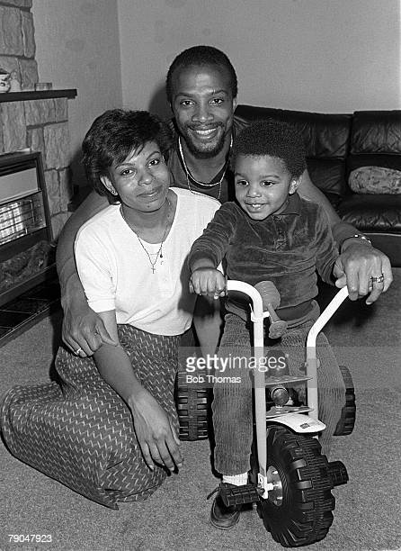 Football 18th October 1982 Portrait of West Bromwich Albion and England footballer Cyrille Regis with his wife and son Robert in their home