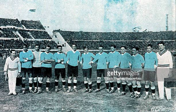 Football 1930 World Cup Montevideo Uruguay 21st July 1930 Uruguay 4 v Romania 0 The Uruguayan team lineup before the match