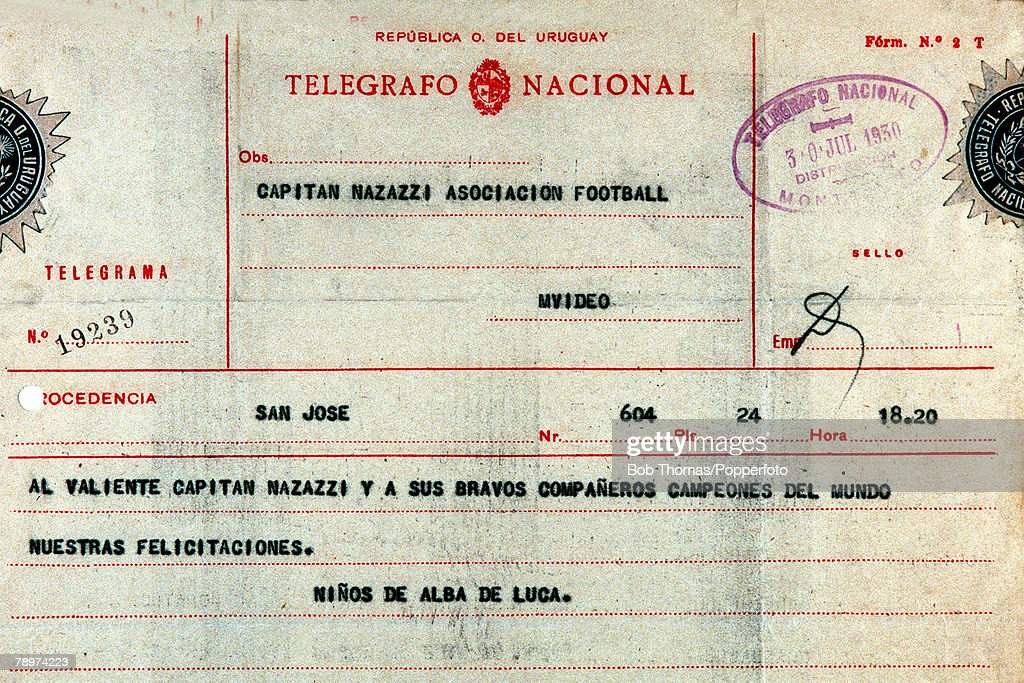 Football, 1930 World Cup, Uruguay, South America, A telegram